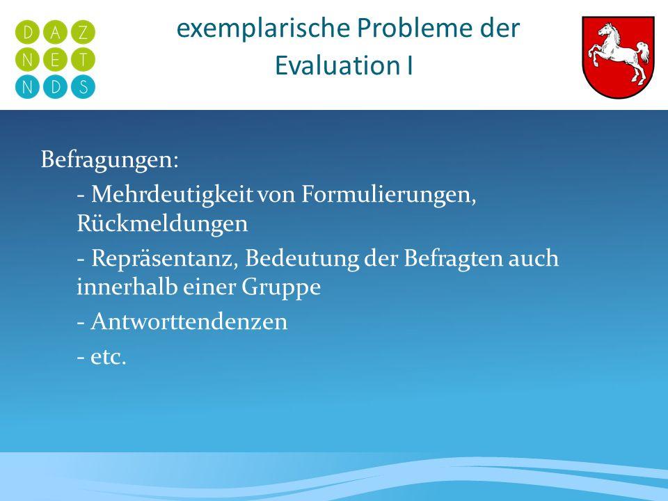 exemplarische Probleme der Evaluation II Die Gütekriterien: Objektivität: Die Durchführung und die Auswertung des Tests sowie die Interpretation der Ergebnisse sind objektiv nachvollziehbar und unabhängig vom Versuchsleiter.