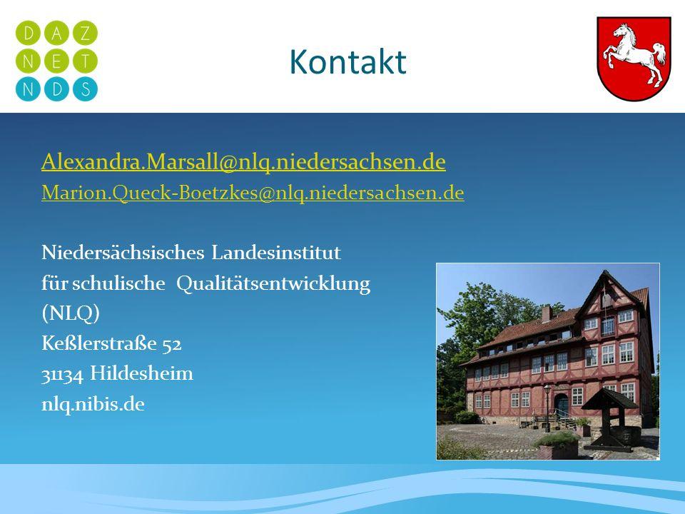 Kontakt Alexandra.Marsall@nlq.niedersachsen.de Marion.Queck-Boetzkes@nlq.niedersachsen.de Niedersächsisches Landesinstitut für schulische Qualitätsent