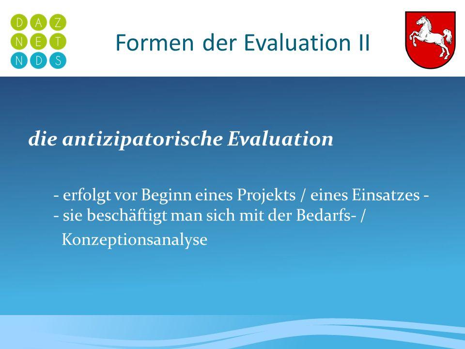 Formen der Evaluation III die formative Evaluation - ist die Bewertung eines Prozesses - erfolgt innerhalb vorab definierter Zeiträume und nach vorab festgelegten Kriterien - sie ist Prozess begleitend - die dient der Qualitätssicherung
