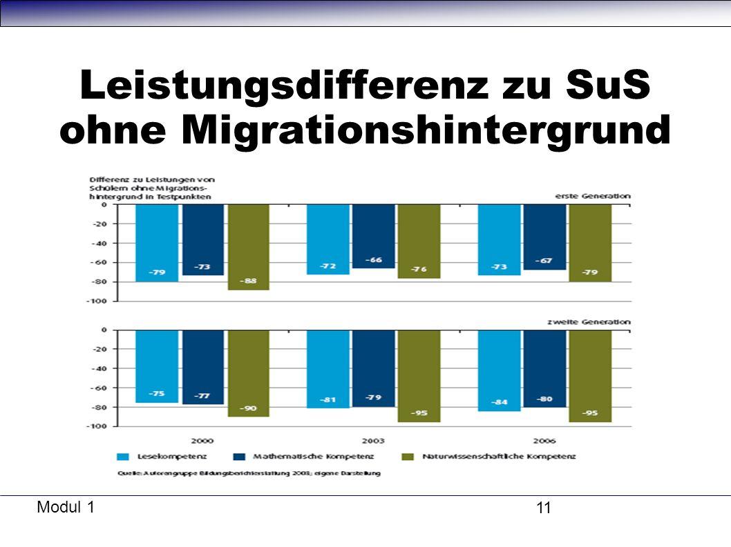 Modul 1 11 Leistungsdifferenz zu SuS ohne Migrationshintergrund