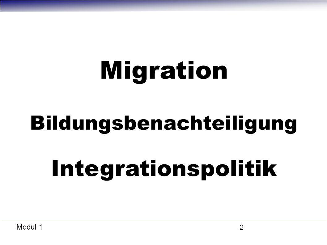 Modul 1 2 Migration Bildungsbenachteiligung Integrationspolitik