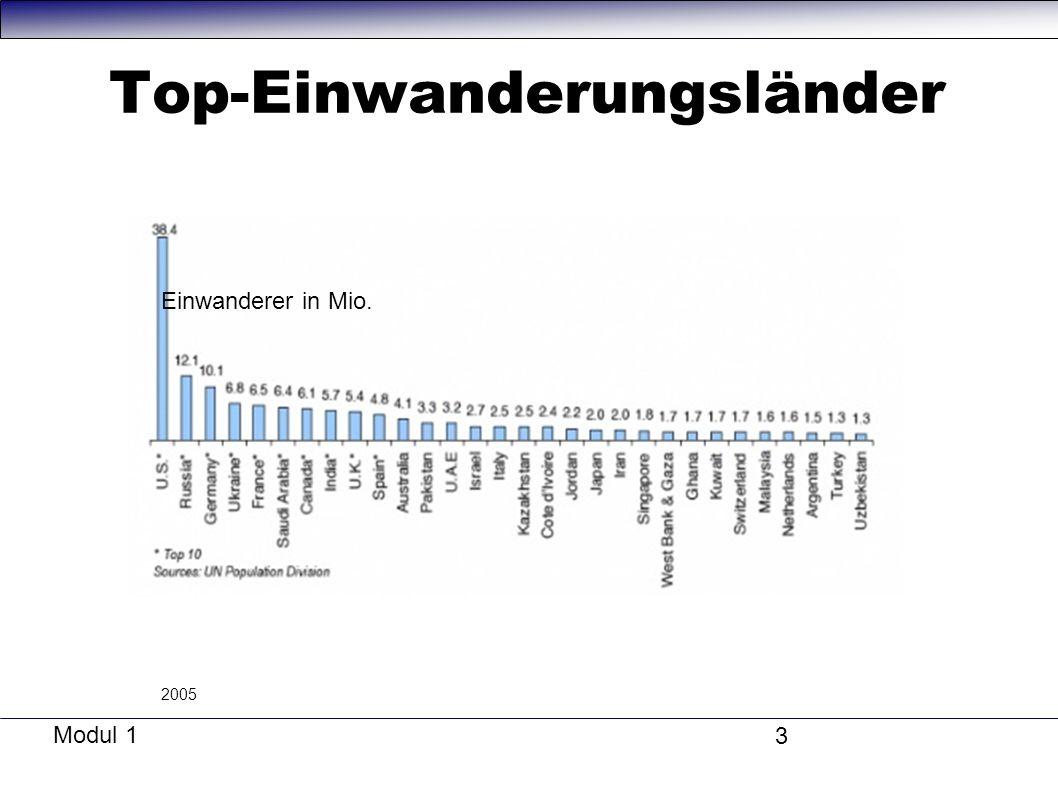Modul 1 3 Top-Einwanderungsländer Einwanderer in Mio. 2005