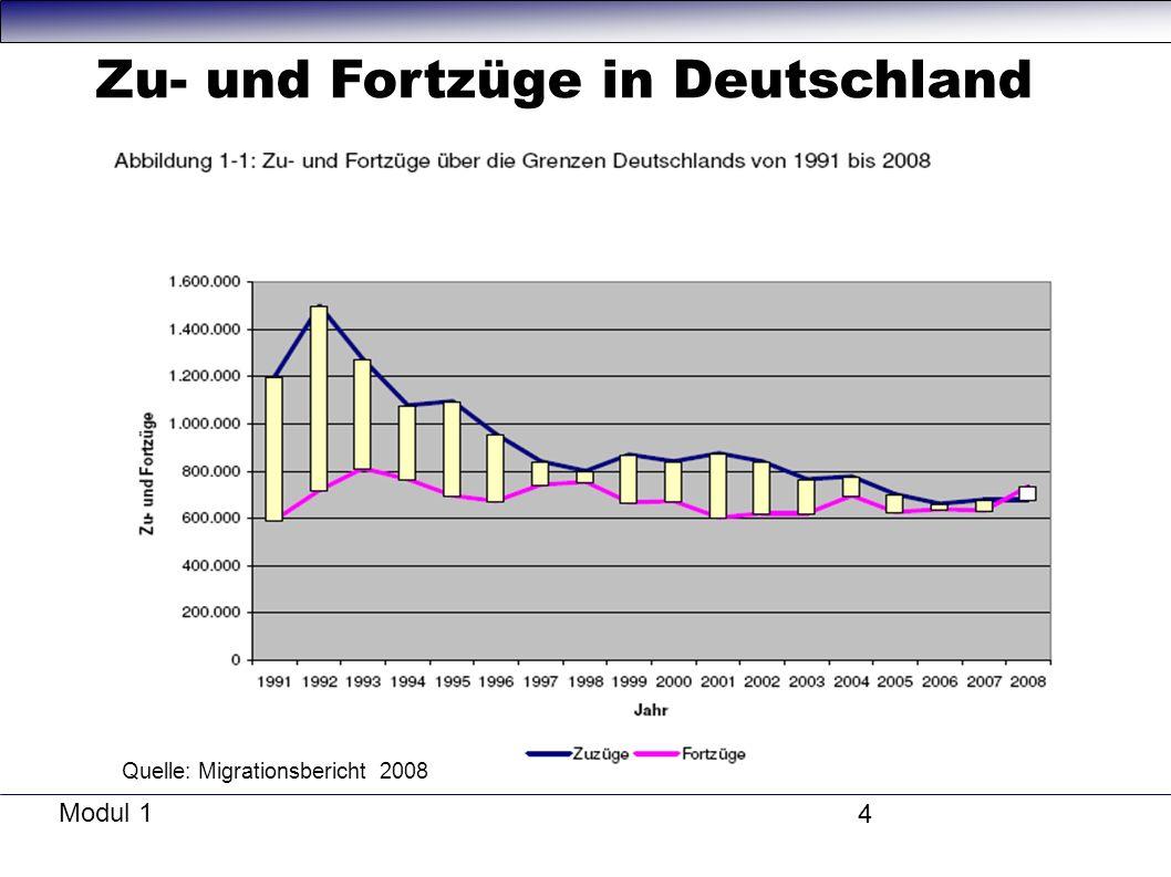 Modul 1 4 Quelle: Migrationsbericht 2008 Zu- und Fortzüge in Deutschland