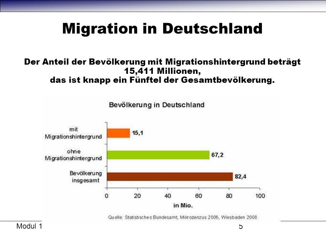 Modul 1 5 Migration in Deutschland Der Anteil der Bevölkerung mit Migrationshintergrund beträgt 15,411 Millionen, das ist knapp ein Fünftel der Gesamtbevölkerung.