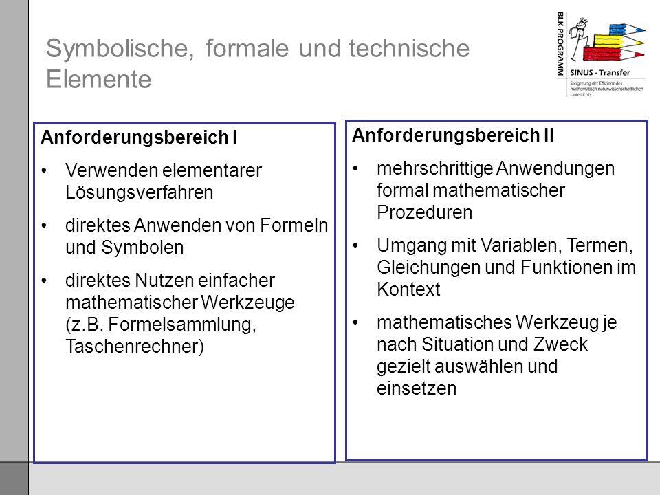 Symbolische, formale und technische Elemente Anforderungsbereich I Verwenden elementarer Lösungsverfahren direktes Anwenden von Formeln und Symbolen d