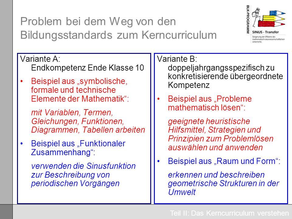 Problem bei dem Weg von den Bildungsstandards zum Kerncurriculum Variante A: Endkompetenz Ende Klasse 10 Beispiel aus symbolische, formale und technis