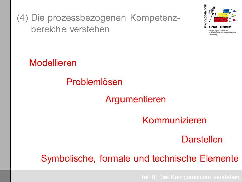 (4) Die prozessbezogenen Kompetenz- bereiche verstehen Teil II: Das Kerncurriculum verstehen Modellieren Problemlösen Argumentieren Kommunizieren Dars