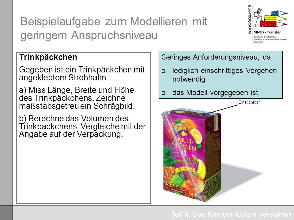 Beispielaufgabe zum Modellieren mit geringem Anspruchsniveau Trinkpäckchen Gegeben ist ein Trinkpäckchen mit angeklebtem Strohhalm. a) Miss Länge, Bre