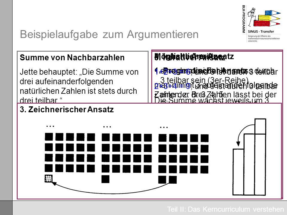 Beispielaufgabe zum Argumentieren Summe von Nachbarzahlen Jette behauptet: Die Summe von drei aufeinanderfolgenden natürlichen Zahlen ist stets durch