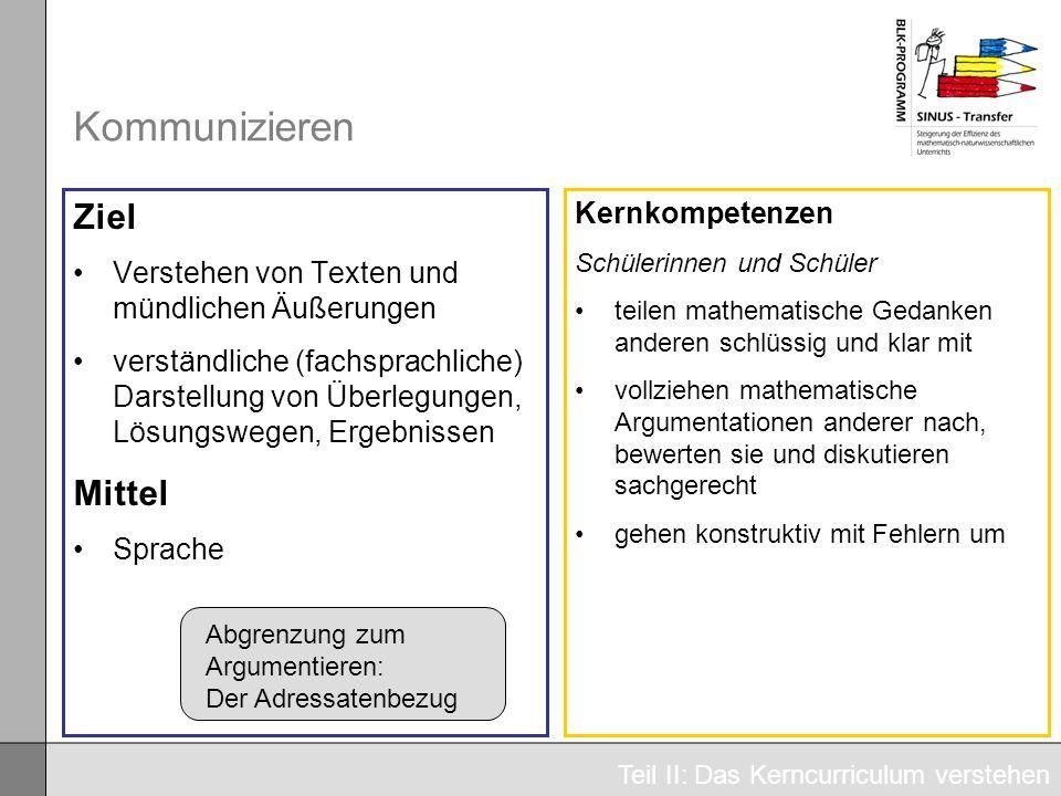 Kommunizieren Ziel Verstehen von Texten und mündlichen Äußerungen verständliche (fachsprachliche) Darstellung von Überlegungen, Lösungswegen, Ergebnis