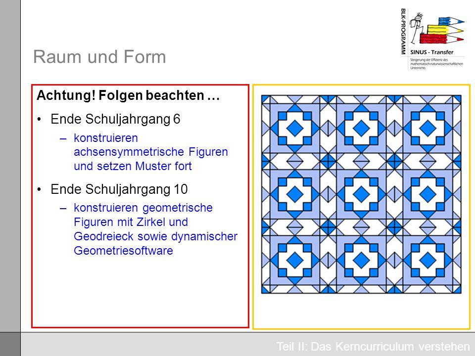 Raum und Form Achtung! Folgen beachten … Ende Schuljahrgang 6 –konstruieren achsensymmetrische Figuren und setzen Muster fort Ende Schuljahrgang 10 –k