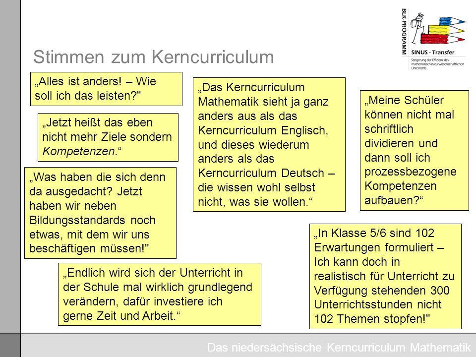 Stimmen zum Kerncurriculum Das Kerncurriculum Mathematik sieht ja ganz anders aus als das Kerncurriculum Englisch, und dieses wiederum anders als das