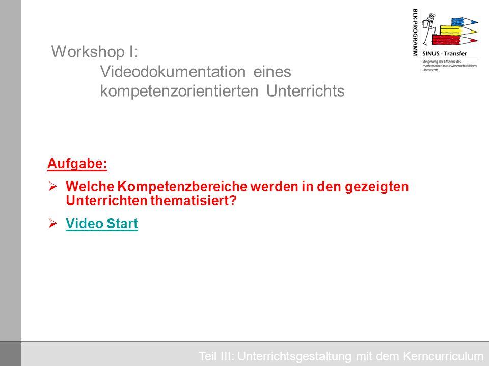 Workshop I: Videodokumentation eines kompetenzorientierten Unterrichts Aufgabe: Welche Kompetenzbereiche werden in den gezeigten Unterrichten thematis