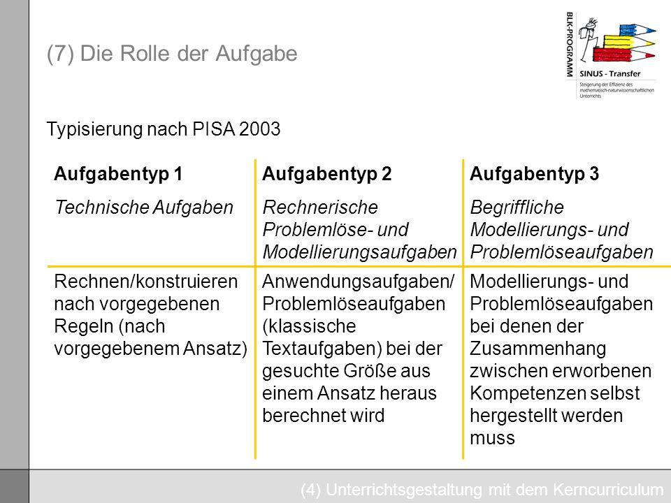 (7) Die Rolle der Aufgabe (4) Unterrichtsgestaltung mit dem Kerncurriculum Aufgabentyp 1 Technische Aufgaben Aufgabentyp 2 Rechnerische Problemlöse- u
