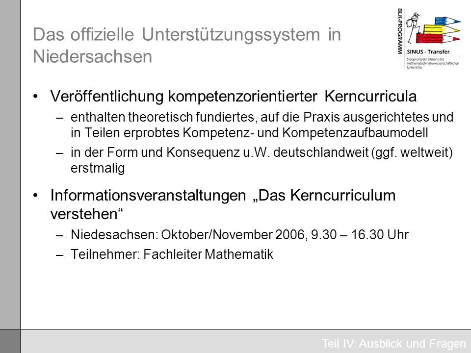Das offizielle Unterstützungssystem in Niedersachsen Veröffentlichung kompetenzorientierter Kerncurricula –enthalten theoretisch fundiertes, auf die P