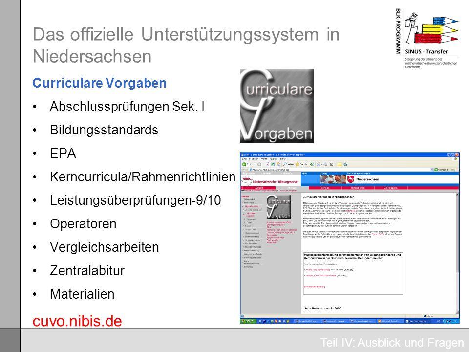 Das offizielle Unterstützungssystem in Niedersachsen Curriculare Vorgaben Abschlussprüfungen Sek. I Bildungsstandards EPA Kerncurricula/Rahmenrichtlin