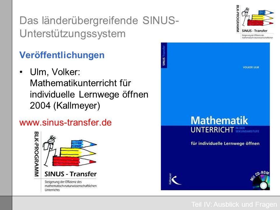 Das länderübergreifende SINUS- Unterstützungssystem Veröffentlichungen Ulm, Volker: Mathematikunterricht für individuelle Lernwege öffnen 2004 (Kallme