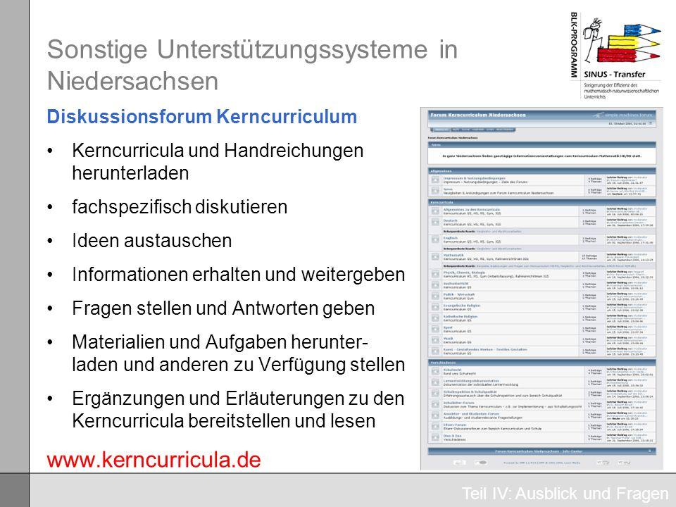 Sonstige Unterstützungssysteme in Niedersachsen Diskussionsforum Kerncurriculum Kerncurricula und Handreichungen herunterladen fachspezifisch diskutie