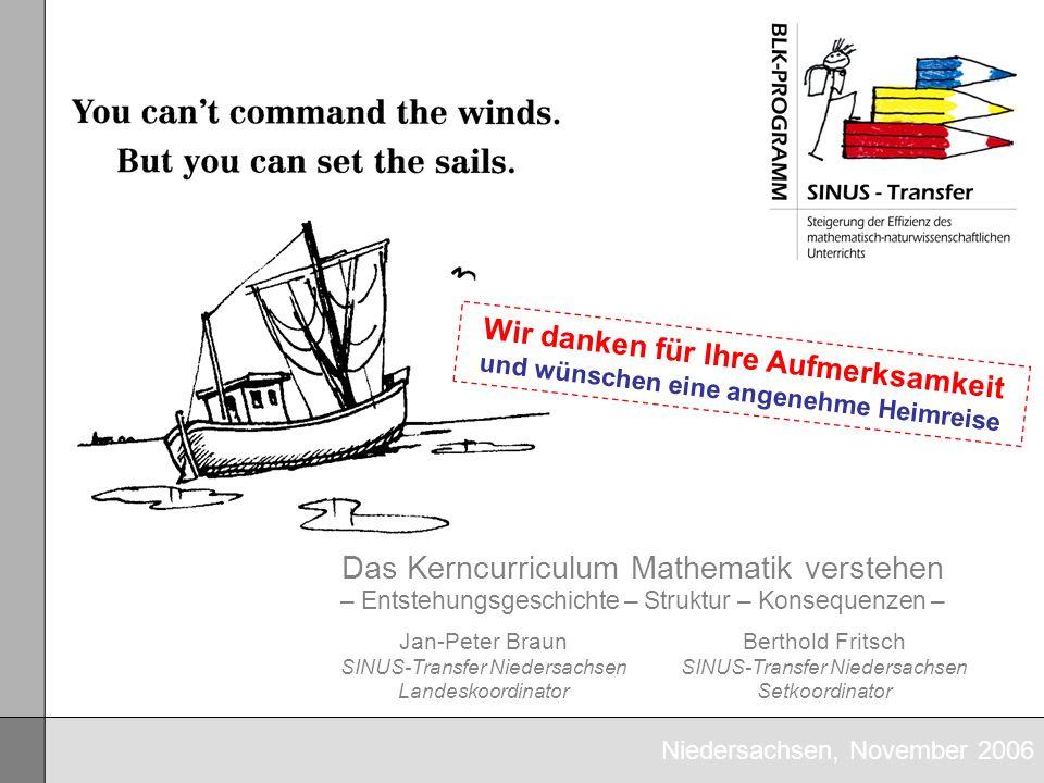 Niedersachsen, November 2006 Das Kerncurriculum Mathematik verstehen – Entstehungsgeschichte – Struktur – Konsequenzen – Jan-Peter Braun SINUS-Transfe