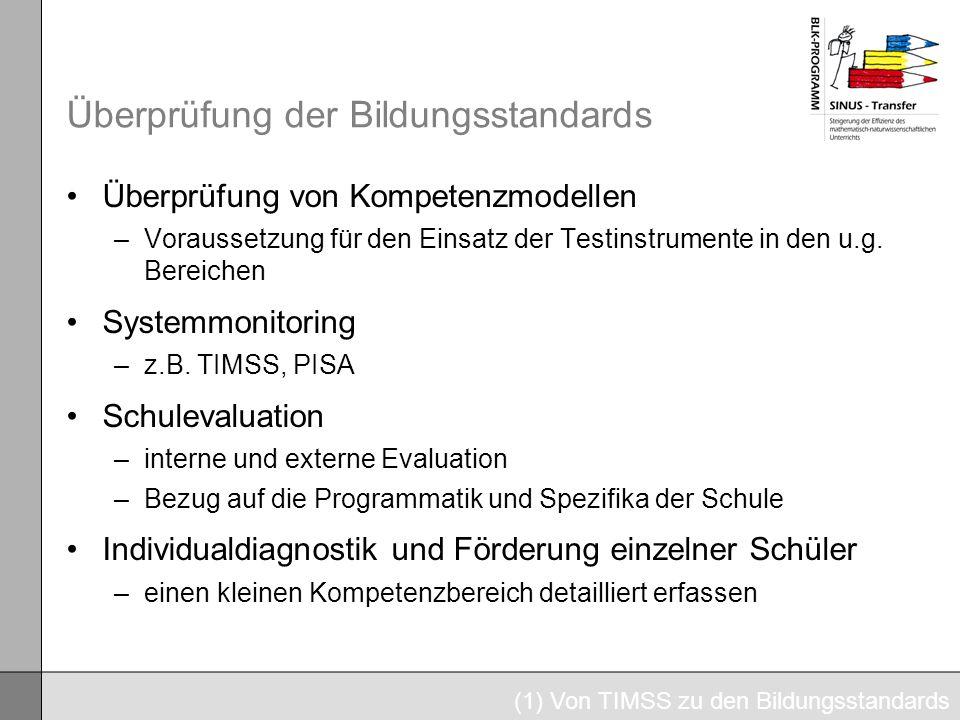 Überprüfung der Bildungsstandards Überprüfung von Kompetenzmodellen –Voraussetzung für den Einsatz der Testinstrumente in den u.g. Bereichen Systemmon