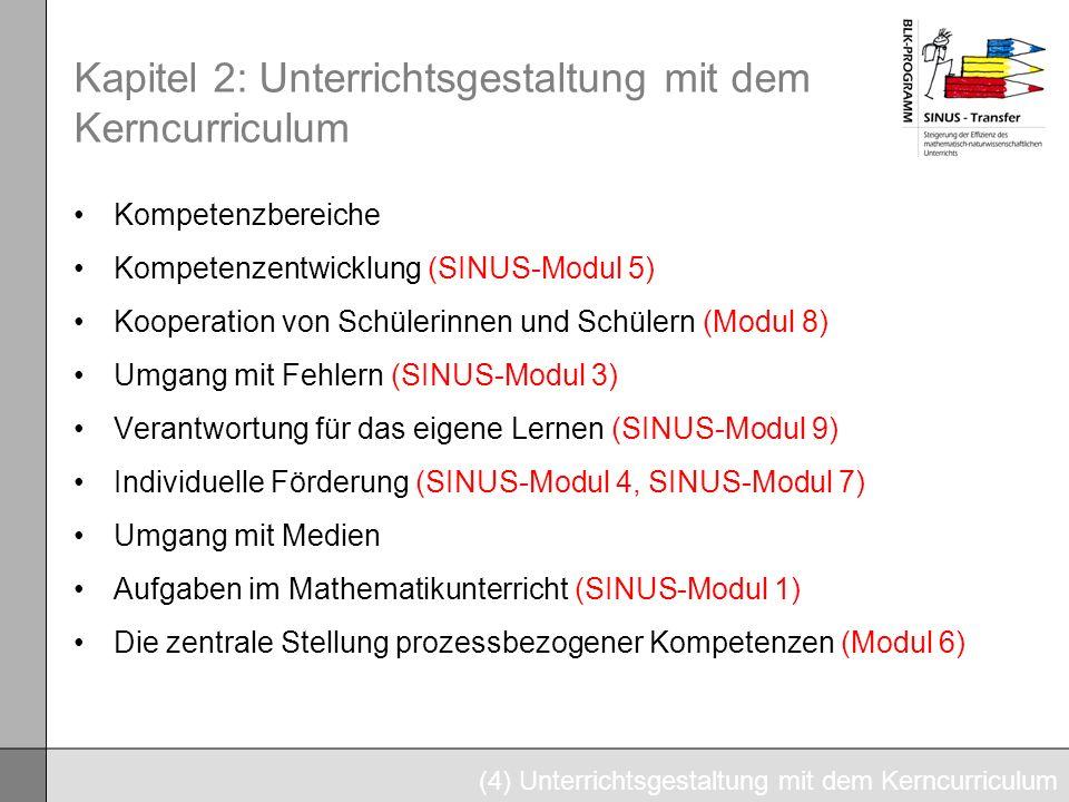 Kapitel 2: Unterrichtsgestaltung mit dem Kerncurriculum Kompetenzbereiche Kompetenzentwicklung (SINUS-Modul 5) Kooperation von Schülerinnen und Schüle