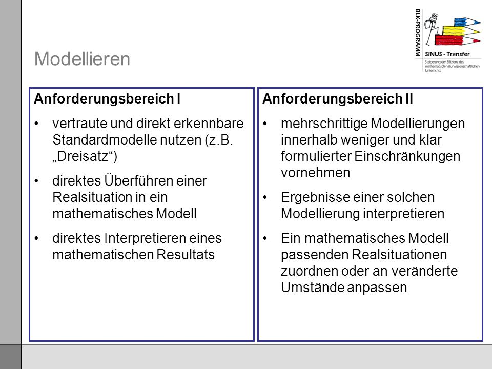 Modellieren Anforderungsbereich I vertraute und direkt erkennbare Standardmodelle nutzen (z.B. Dreisatz) direktes Überführen einer Realsituation in ei