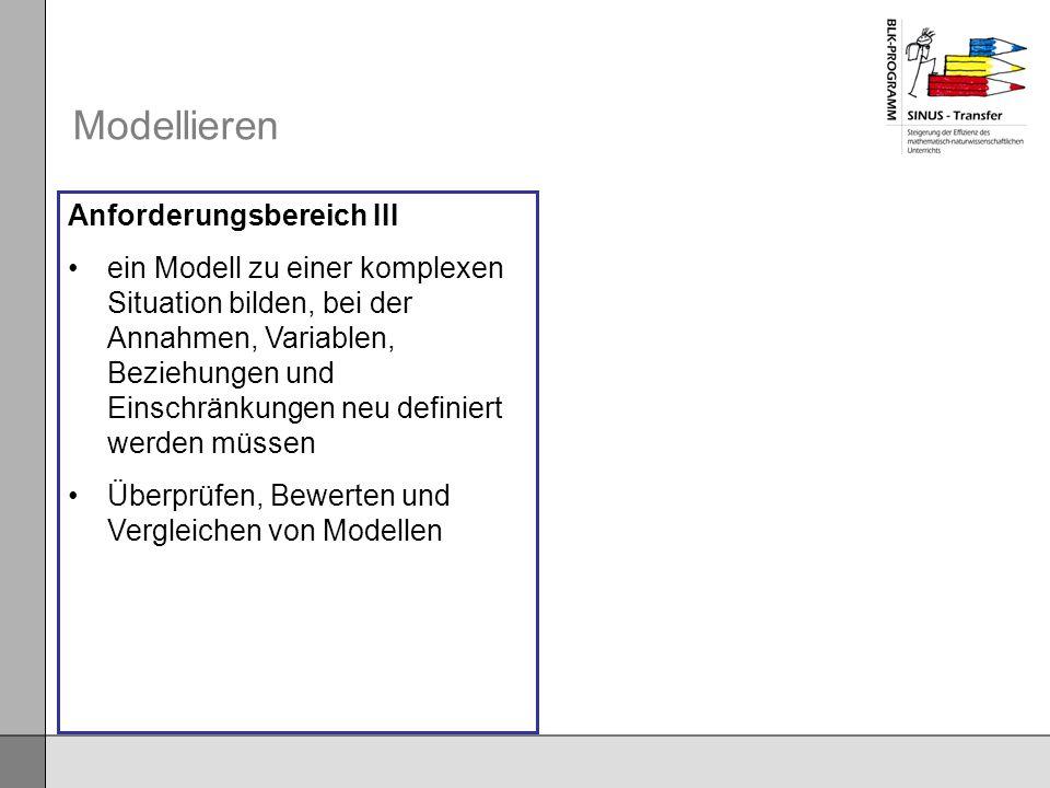Modellieren Anforderungsbereich III ein Modell zu einer komplexen Situation bilden, bei der Annahmen, Variablen, Beziehungen und Einschränkungen neu d