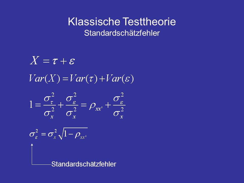 Klassische Testtheorie Standardschätzfehler Standardschätzfehler