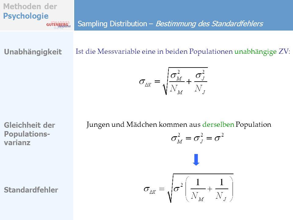 Methoden der Psychologie Sampling Distribution – Bestimmung des Standardfehlers Unabhängigkeit Ist die Messvariable eine in beiden Populationen unabhä