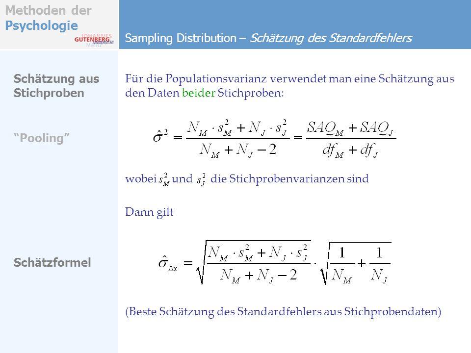 Methoden der Psychologie Sampling Distribution – Schätzung des Standardfehlers Für die Populationsvarianz verwendet man eine Schätzung aus den Daten b