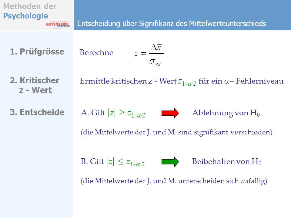 Methoden der Psychologie Entscheidung über Signifikanz des Mittelwerteunterschieds 1. Prüfgrösse Berechne A. Gilt  z  > z 1- /2 Ablehnung von H 0 (die