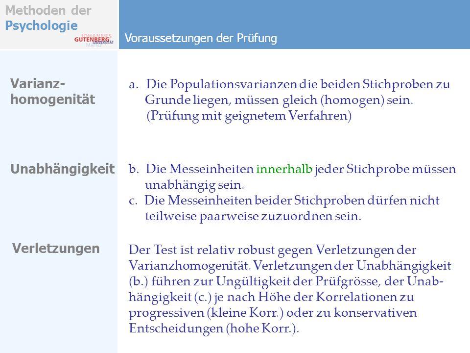 Methoden der Psychologie Voraussetzungen der Prüfung Varianz- homogenität Unabhängigkeit Verletzungen a.Die Populationsvarianzen die beiden Stichprobe