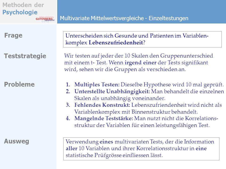 Methoden der Psychologie Multivariate Mittelwertsvergleiche - Einzeltestungen Teststrategie Ausweg Frage Unterscheiden sich Gesunde und Patienten im V