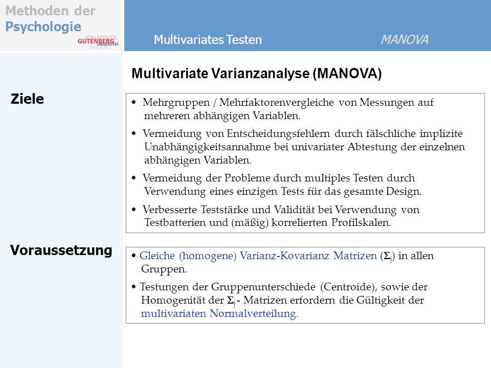 Methoden der Psychologie MANOVA SSP Table SoVSSPdf A Error Total g - 1 B k - 1 A x B (g- 1) (k- 1) 2.