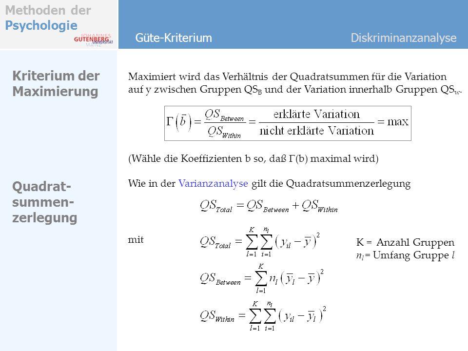 Methoden der Psychologie Maximiert wird das Verhältnis der Quadratsummen für die Variation auf y zwischen Gruppen QS B und der Variation innerhalb Gru