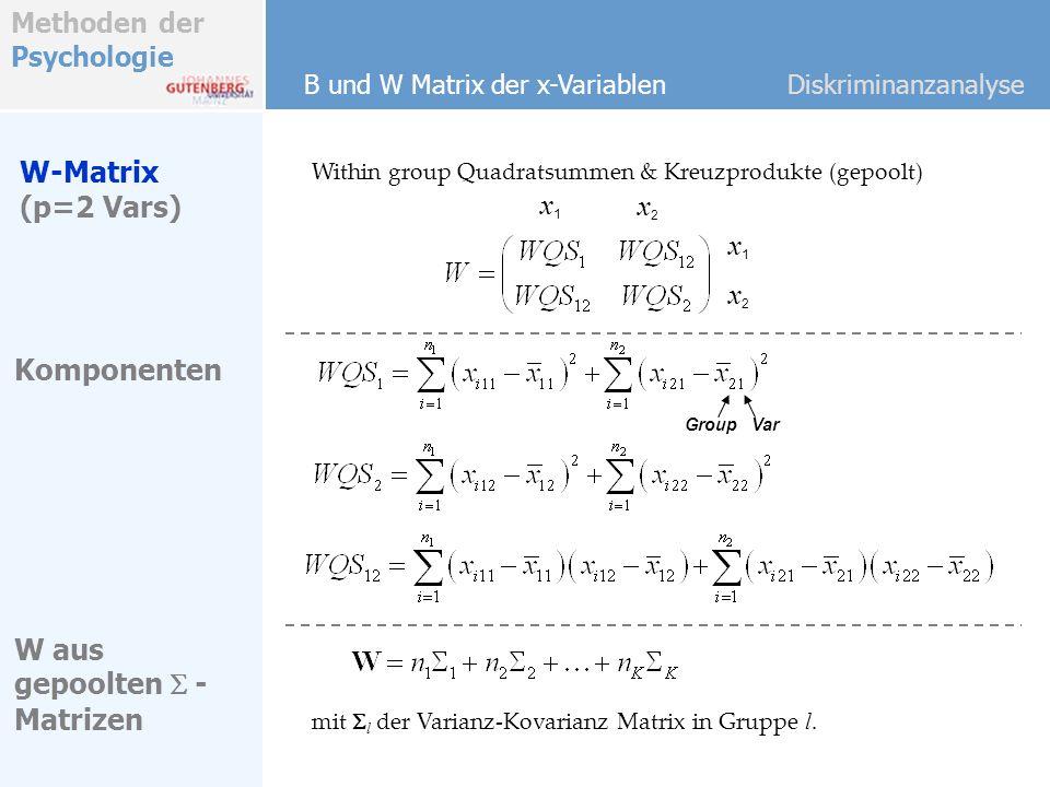 Methoden der Psychologie B und W Matrix der x-VariablenDiskriminanzanalyse Within group Quadratsummen & Kreuzprodukte (gepoolt) W-Matrix (p=2 Vars) Ko
