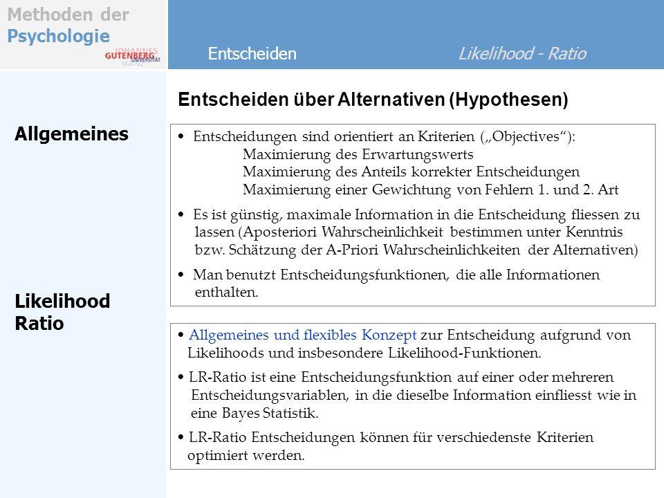 Methoden der Psychologie 2 Alternativen Entscheiden Likelihood - Ratio Es gilt H1H1 H0H0 Entscheidung (D) für D1D1 D0D0 HitFalse Alarm MissCorr.