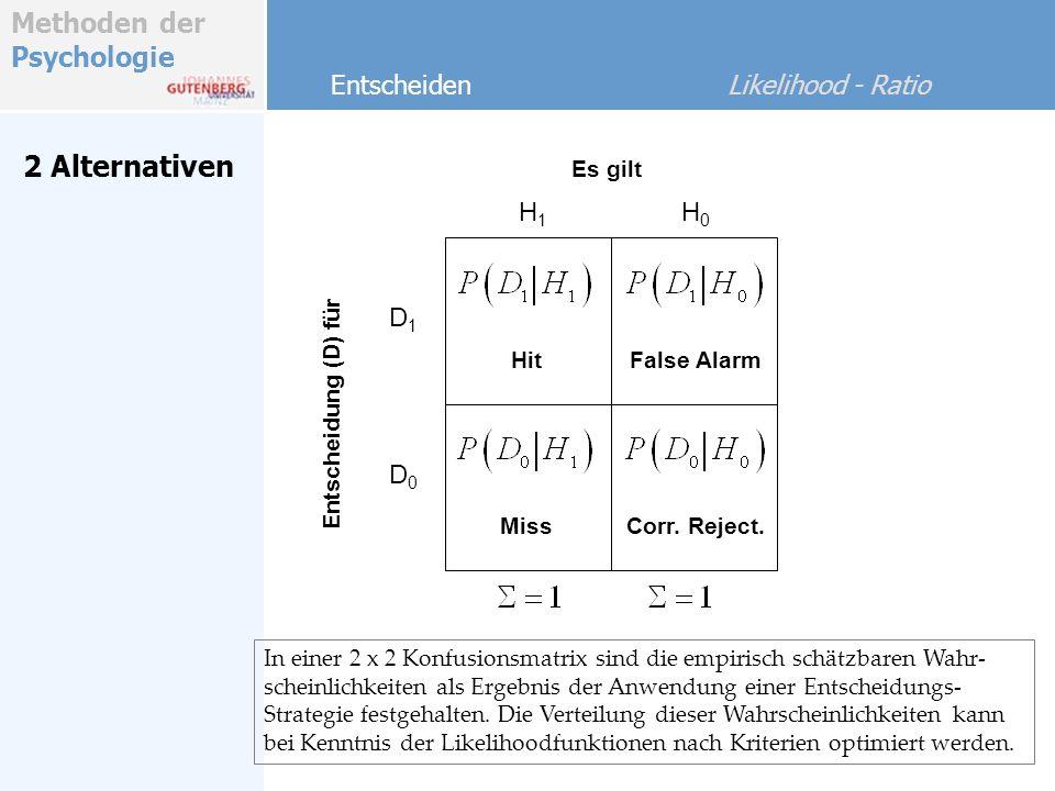 Methoden der Psychologie 2 Alternativen Entscheiden Likelihood - Ratio Die Likelihoodfunktionen p(x) sind Wahrscheinlichkeitsdichten.