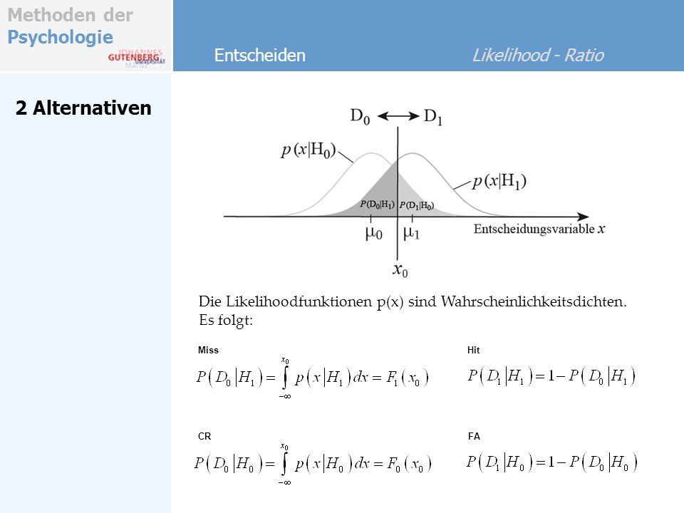 Methoden der Psychologie Bayes-Ansatz Entscheiden Likelihood - Ratio Wenn q ik > 1 wähle i, sonst k Dies entspricht: Regel: Max Aposteriori wähle i, sonst k Likelihood Ratio Regel (LR- Entscheidung äquivalent zur Entscheidung mit Bayes-Regel) Für 2 Alternativen i,k: