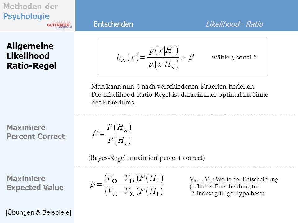 Methoden der Psychologie Entscheiden Likelihood - Ratio LR-Regel Sei p –Variablen multivariat normalverteilt Für 2 Gruppen c i, c k, klassifiziere in Gruppe c i wenn die Likelihoodfunktion für Gruppe j mit der quadrierten Mahalanobisdistanz zum Gruppenzentroid sonst in Gruppe c k Hierzu korrespondiert durch Bekanntheit der Likelihood-Funktionen eine einfache Regel (QCR).