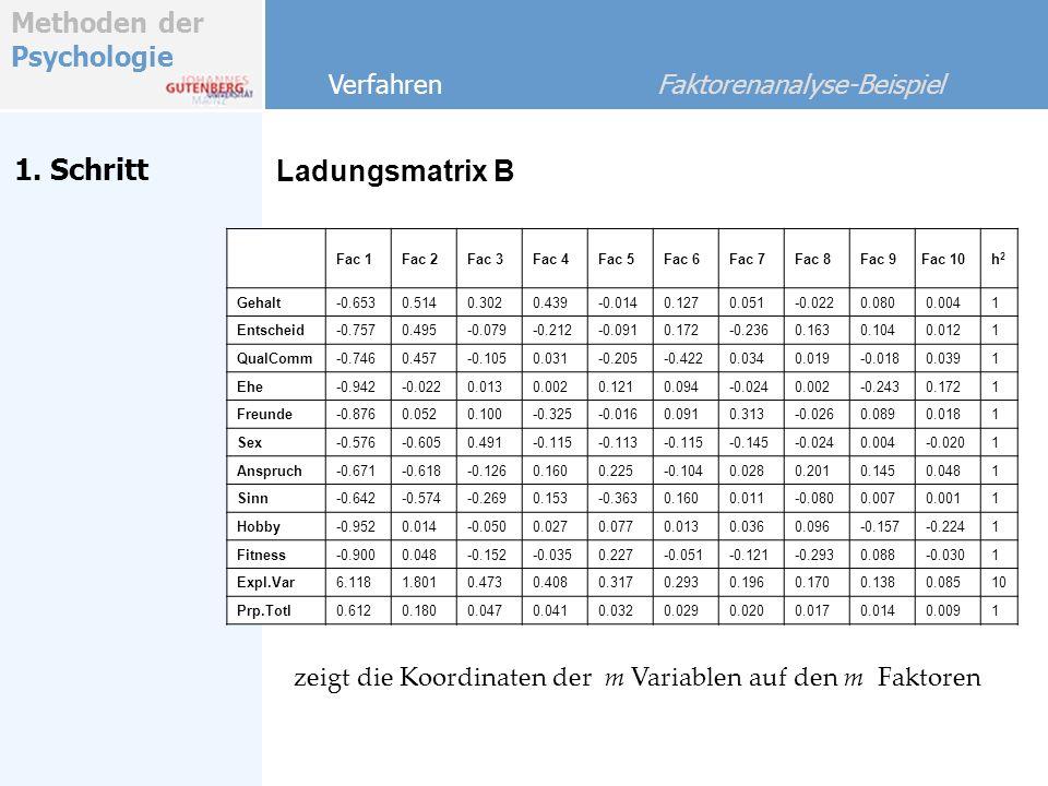 Methoden der Psychologie 1. Schritt Ladungsmatrix B Verfahren Faktorenanalyse-Beispiel zeigt die Koordinaten der m Variablen auf den m Faktoren Fac 1F