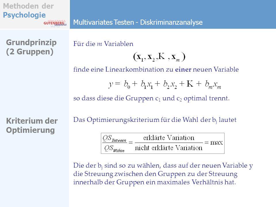 Methoden der Psychologie Grundprinzip (2 Gruppen) Multivariates Testen - Diskriminanzanalyse Für die m Variablen finde eine Linearkombination zu einer neuen Variable so dass diese die Gruppen c 1 und c 2 optimal trennt.
