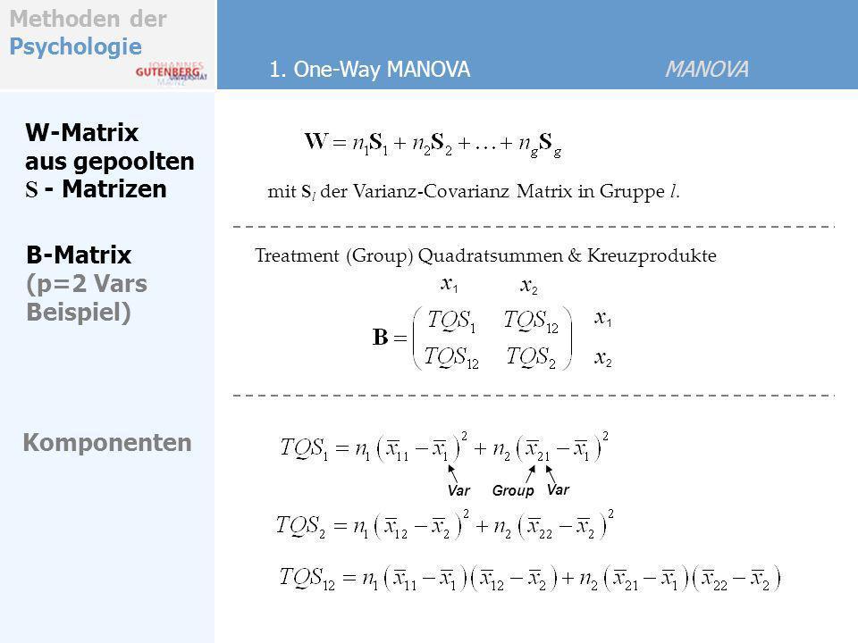 Methoden der Psychologie W-Matrix aus gepoolten S - Matrizen mit S l der Varianz-Covarianz Matrix in Gruppe l. Treatment (Group) Quadratsummen & Kreuz