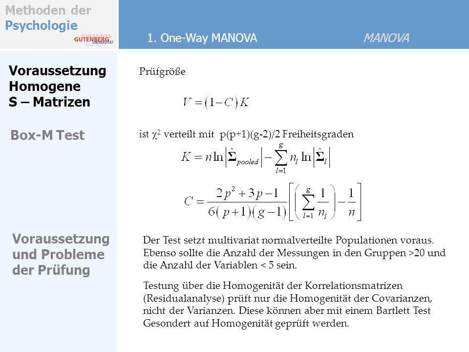 Methoden der Psychologie ist 2 verteilt mit p(p+1)(g-2)/2 Freiheitsgraden Voraussetzung Homogene S – Matrizen Prüfgröße 1. One-Way MANOVA MANOVA Der T