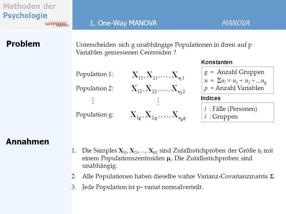 Methoden der Psychologie Problem Annahmen 1. One-Way MANOVA MANOVA Unterscheiden sich g unabhängige Populationen in ihren auf p Variablen gemessenen C