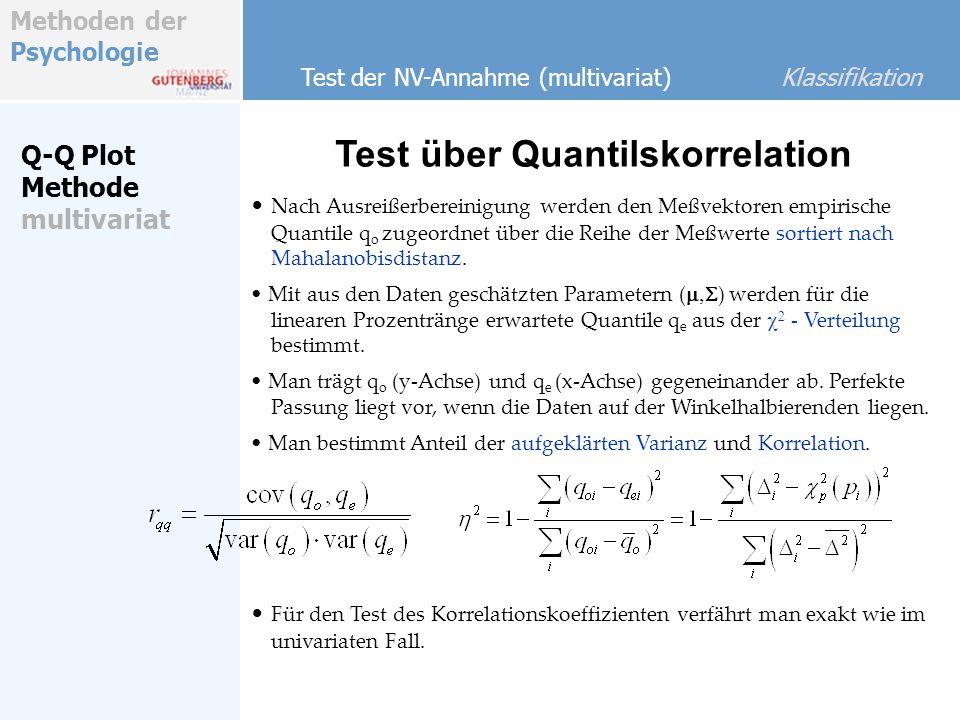Methoden der Psychologie Nach Ausreißerbereinigung werden den Meßvektoren empirische Quantile q o zugeordnet über die Reihe der Meßwerte sortiert nach