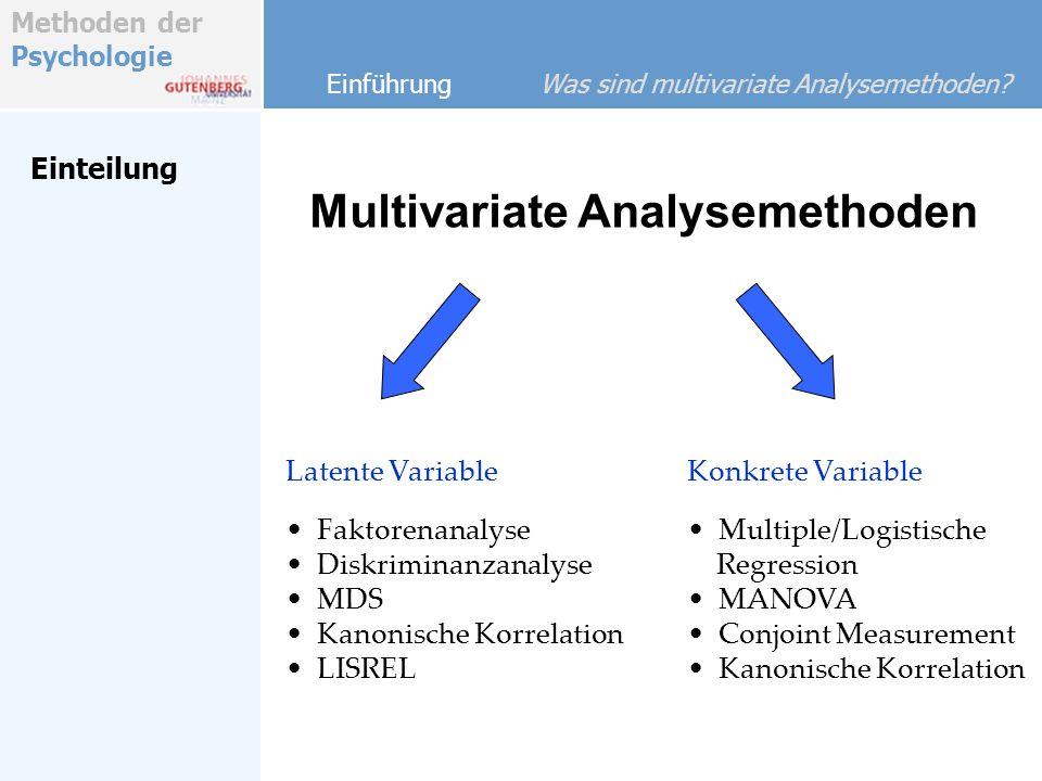 Methoden der Psychologie Latente Variable Verfahren Latente Variable Multidimensionale Skalierung Problem: Positionierung von Messobjekten in einem latenten Raum (hier: Wahrnehmungsraum) Möglichkeiten: Faktorenanalyse Multidimensionale Skalierung