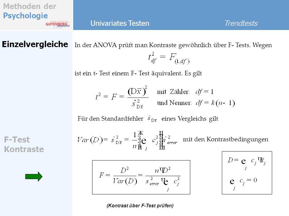 Methoden der Psychologie Einzelvergleiche In der ANOVA prüft man Kontraste gewöhnlich über F- Tests. Wegen Univariates Testen Trendtests F-Test Kontra