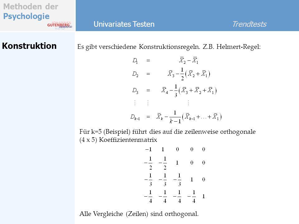 Methoden der Psychologie Konstruktion Es gibt verschiedene Konstruktionsregeln. Z.B. Helmert-Regel: Univariates Testen Trendtests Für k=5 (Beispiel) f
