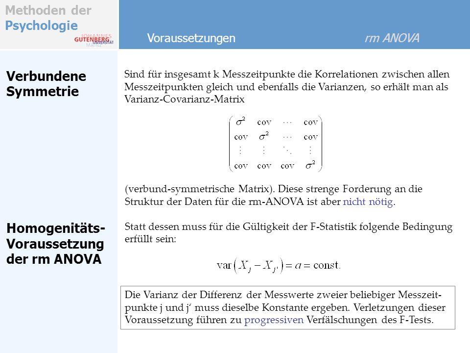 Methoden der Psychologie Verbundene Symmetrie Sind für insgesamt k Messzeitpunkte die Korrelationen zwischen allen Messzeitpunkten gleich und ebenfalls die Varianzen, so erhält man als Varianz-Covarianz-Matrix (verbund-symmetrische Matrix).